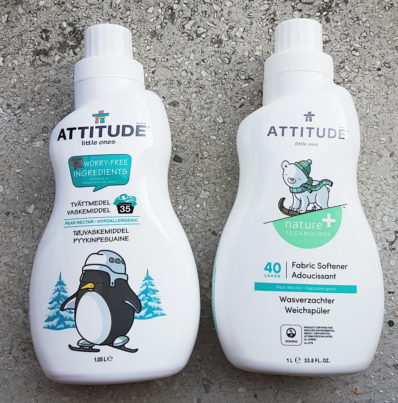 Detergentul și balsamul pentru bebeluși cu nectar de pere Attitude vegan Cruelty-free ecologo