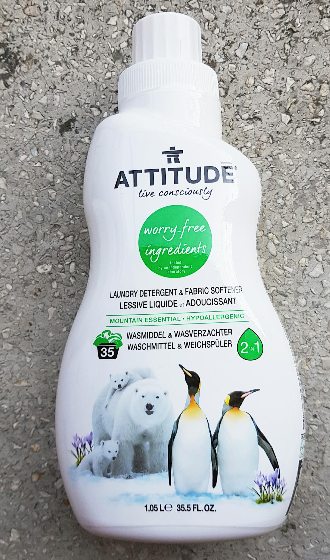 2 în 1: Detergent lichid și balsam de rufe cu aromă montană Attitude vegan Cruelty-free ecologo