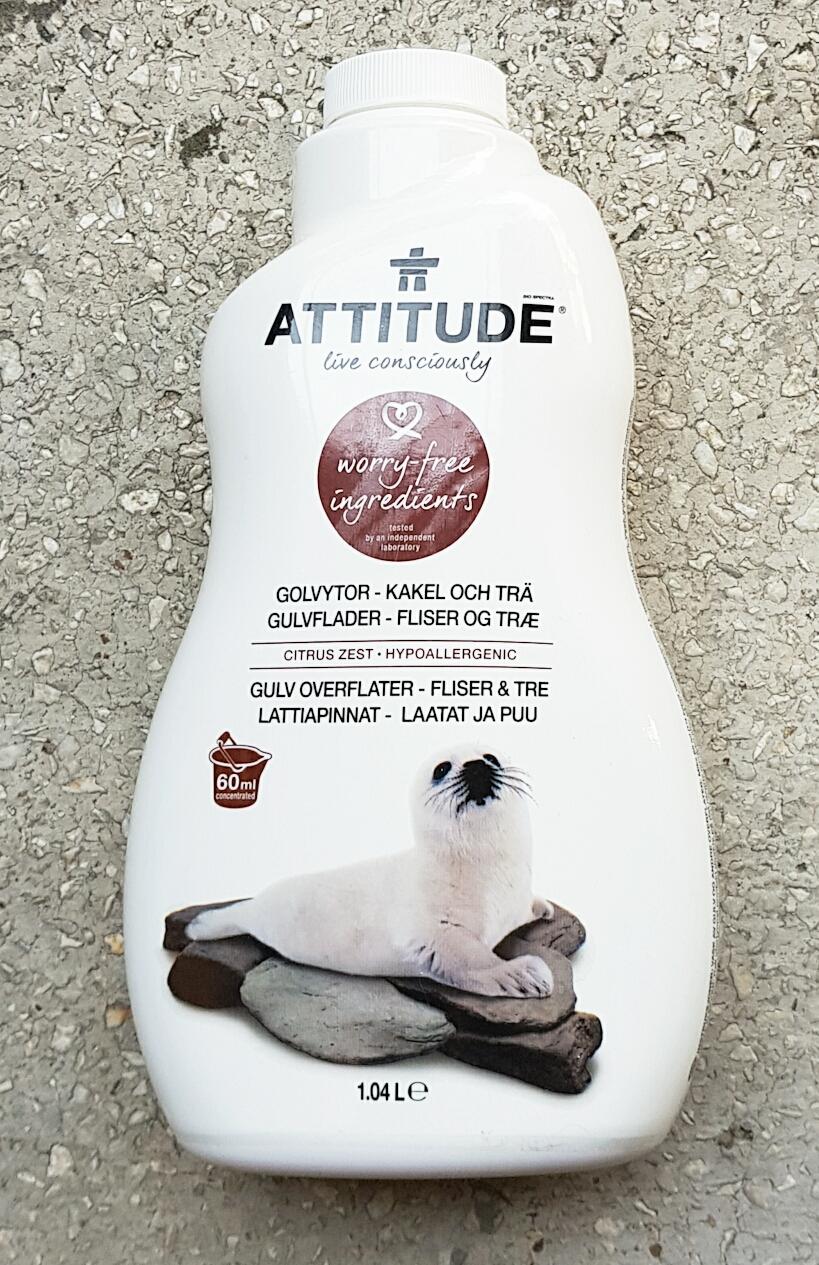 Soluție de curățat gresia și parchetul cu coajă de citrice  Attitude vegan Cruelty-free ecologo