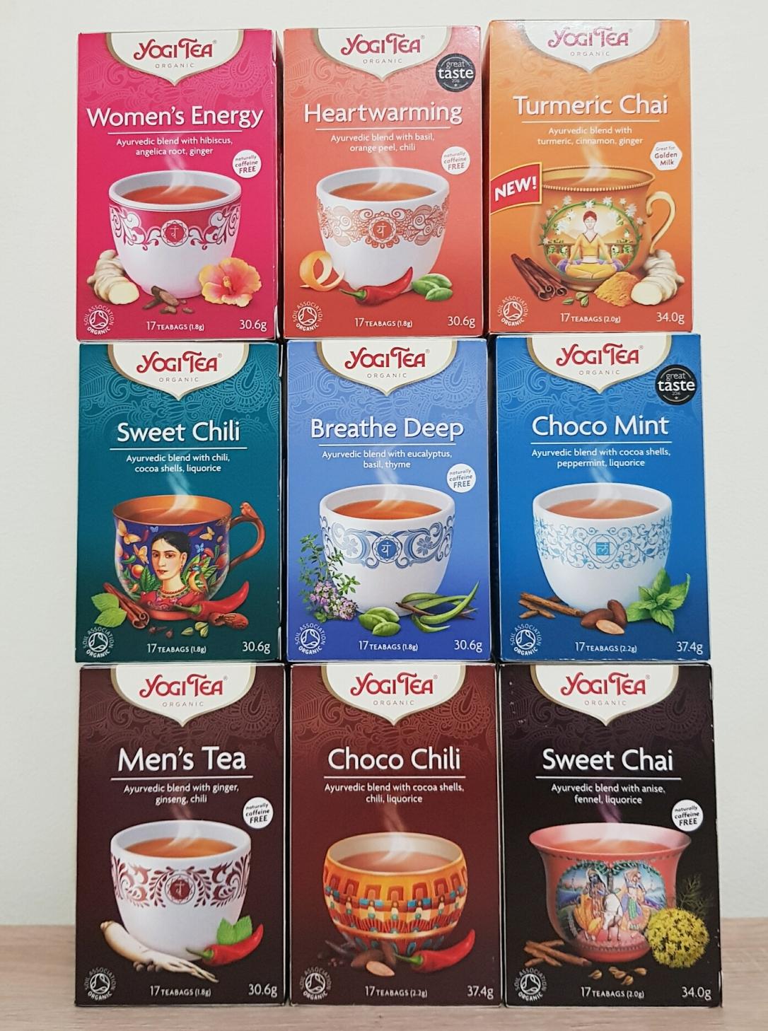 Yogi tea chai chili choco mint organic vegan kosher yoga women men energy hearth worming breathe deep turmeric