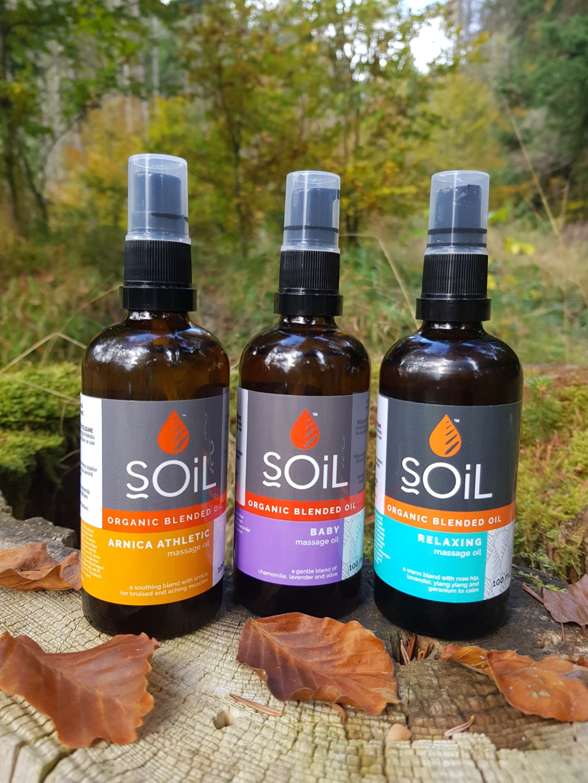 SOiL - Uleiuri organice pentru masaj și relaxare - Relaxing, Arnica Athletic și Baby vegan și cruelty-free